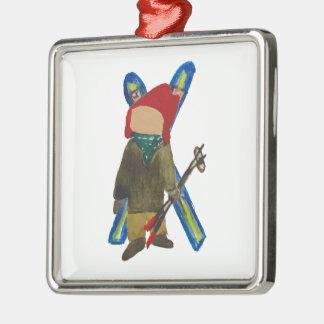 Ornamento De Metal Pensionista do esquiador da criança dos dias da