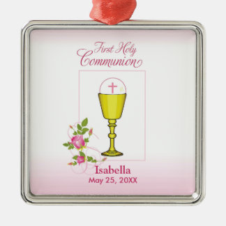 Ornamento De Metal Personalize comunhão santamente do rosa conhecido