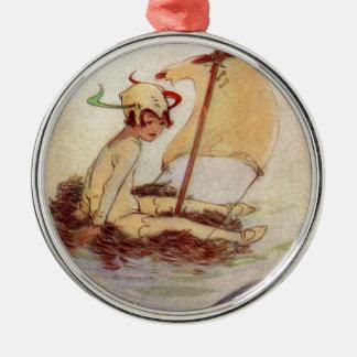 Ornamento De Metal Peter Pan na jangada do ninho