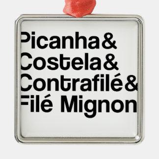 ORNAMENTO DE METAL PICANHA, COSTELA, CONTRAFILÉ, MIGNON