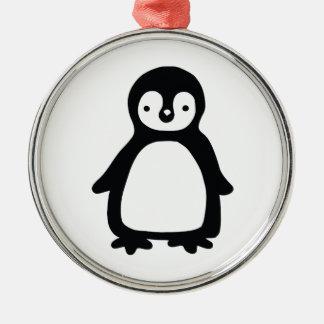 Ornamento De Metal Pinguin preto e branco simples