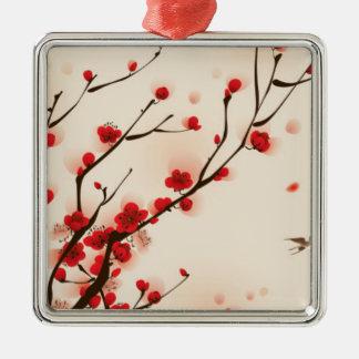 Ornamento De Metal Pintura asiática do estilo, flor da ameixa no