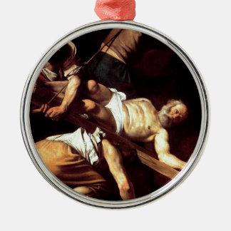 """Ornamento De Metal Pintura original """"La crocifissione di s Pietro """""""