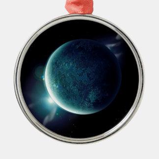 Ornamento De Metal planeta verde no universo com aura e estrelas