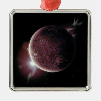 Ornamento De Metal planeta vermelho no universo com aura e estrelas