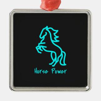 Ornamento De Metal Poder de cavalo no azul