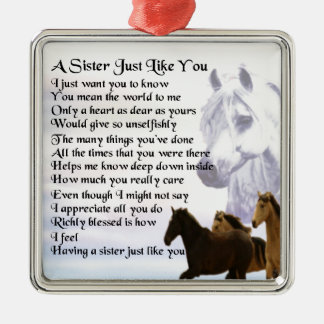 Ornamento De Metal Poema da irmã dos cavalos