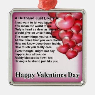 Ornamento De Metal Poema do marido do design dos namorados