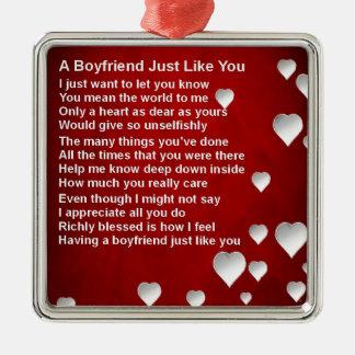 Ornamento De Metal Poema do namorado dos namorados - design branco