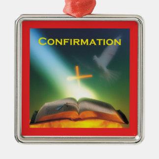 Ornamento De Metal Pomba da confirmação, bíblia, cruz