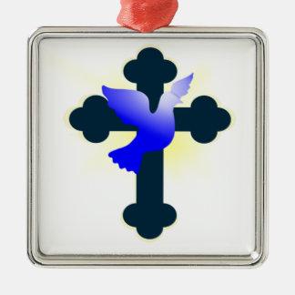 Ornamento De Metal Pomba e cruz