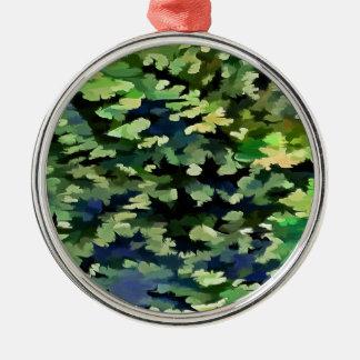 Ornamento De Metal Pop art abstrato da folha em verde e no azul