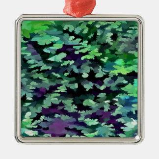 Ornamento De Metal Pop art abstrato da folha no verde e no roxo de