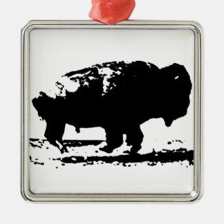 Ornamento De Metal Pop art Running do bisonte do búfalo