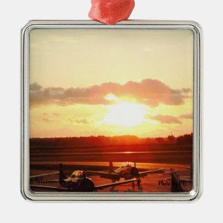 Ornamento De Metal Por do sol no aeroporto em Wisconsin
