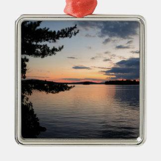 Ornamento De Metal Por do sol sobre o lago Maine Millinocket da ilha