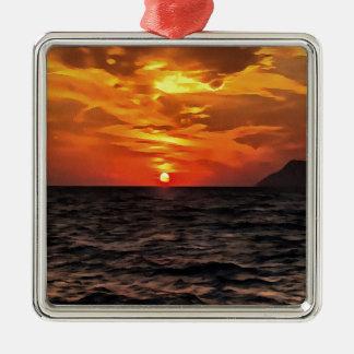 Ornamento De Metal Por do sol sobre o mar Mediterrâneo