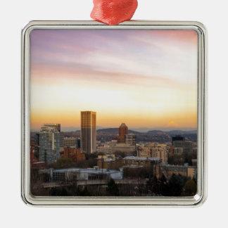 Ornamento De Metal Por do sol sobre Portland OU arquitectura da