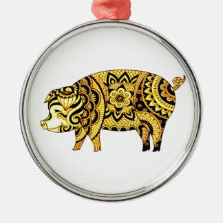 Ornamento De Metal Porco
