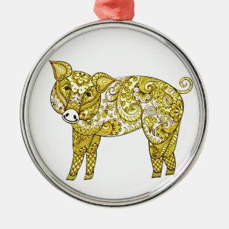 Ornamento De Metal Porco 2