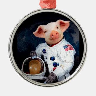 Ornamento De Metal Porco do astronauta - astronauta do espaço