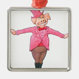 Ornamento De Metal Porco em um chapéu alto