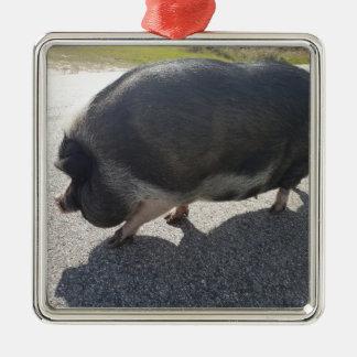Ornamento De Metal Porco grande