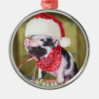 Ornamento De Metal Porco Papai Noel - porco do Natal - leitão