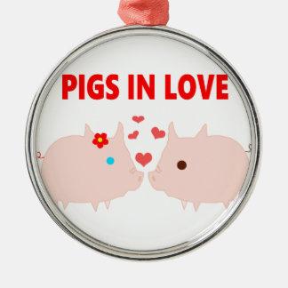 Ornamento De Metal porcos no amor