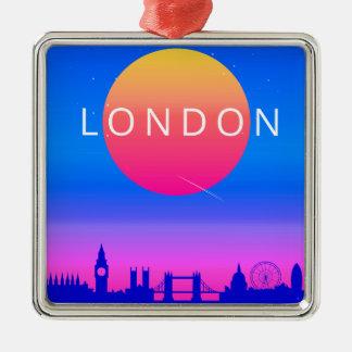 Ornamento De Metal Poster de viagens do por do sol da skyline de
