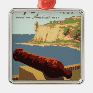 Ornamento De Metal Poster Puerto Rico das viagens vintage