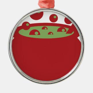 Ornamento De Metal Pote vermelho e verde do cozinhar