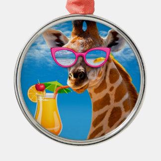 Ornamento De Metal Praia do girafa - girafa engraçado