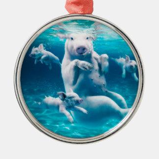 Ornamento De Metal Praia do porco - porcos da natação - porco