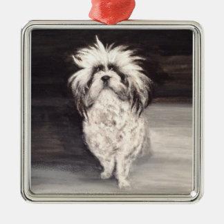 """Ornamento De Metal Premium quadrado alfaia """"Portrait cão """""""