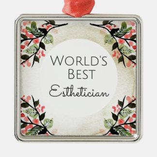 Ornamento De Metal Presente 2 do Esthetician do mundo o melhor