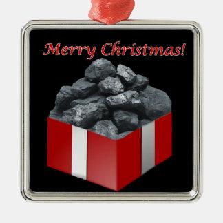 Ornamento De Metal Presente de carvão do Feliz Natal
