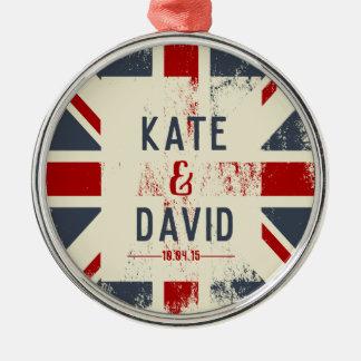 Ornamento De Metal Presente de casamento dos nomes do casal afligido