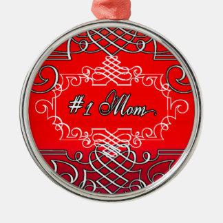 Ornamento De Metal Presente vermelho da tipografia do dia das mães da