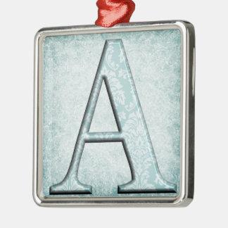 Ornamento De Metal Presentes azuis das iniciais do monograma do