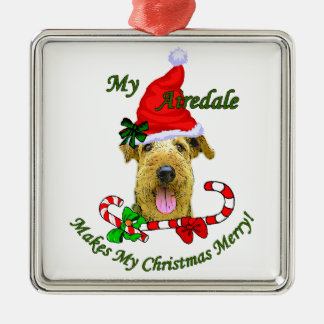 Ornamento De Metal Presentes do Natal de Airedale Terrier
