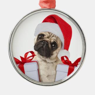 Ornamento De Metal Presentes do Pug - cão claus - pugs engraçados -