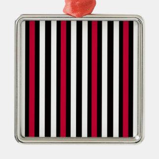Ornamento De Metal Preto branco vermelho listrado