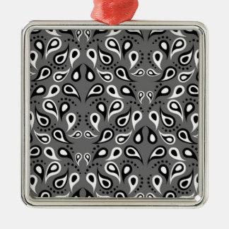 Ornamento De Metal Preto do impressão do design do teste padrão de