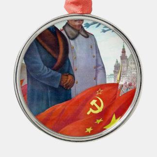 Ornamento De Metal Propaganda original Mao Zedong e Josef Stalin