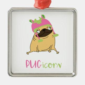 Ornamento De Metal Pug engraçado do unicórnio de Pugicorn