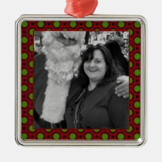 Ornamento De Metal Quadro quadrado da foto das bolinhas do feriado