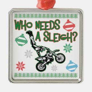 Ornamento De Metal Quem precisa uma camisola do Natal da raça de