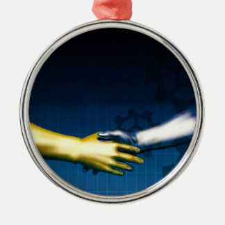 Ornamento De Metal Rede da integração do negócio com as mãos que