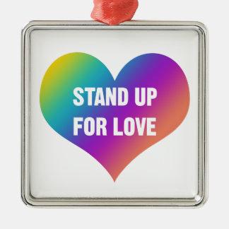 Ornamento De Metal Represente acima o amor (o coração do arco-íris)